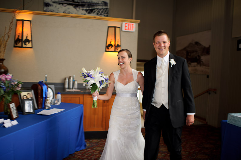 Bride and Groom entering Champagne Powder Room in Steamboat