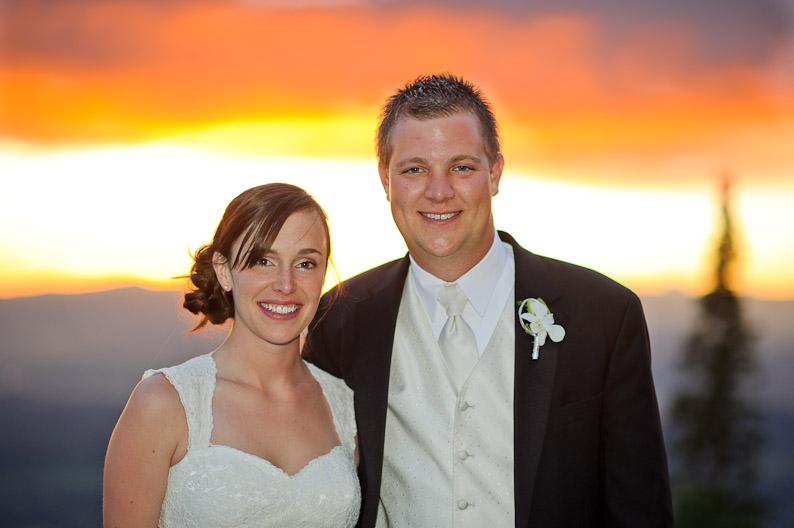 Sunset views from a wedding on the mountain in Steamboat