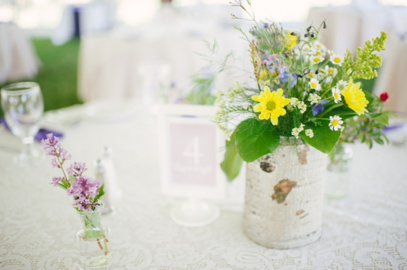 Wildflowers on tables at Colorado wedding
