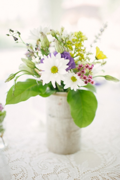 Daisies and wildflowers.  Wedding table centerpiece.