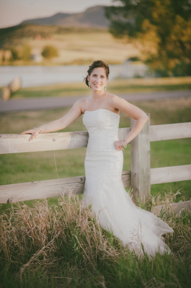 Bride at the golden hour; Catamount wedding