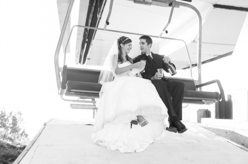 Wedding photos on a ski lift in Steamboat Springs