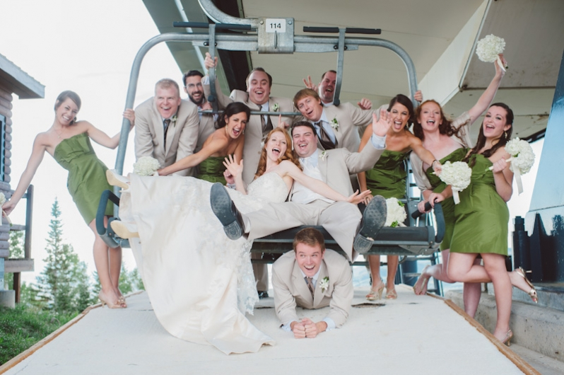 wedding party on ski lift