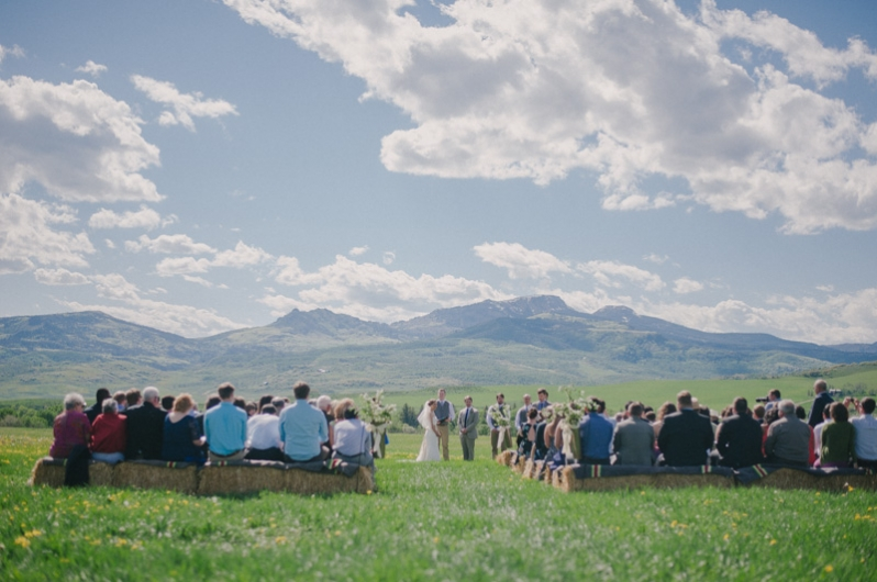 rustic Colorado ranch wedding ceremony