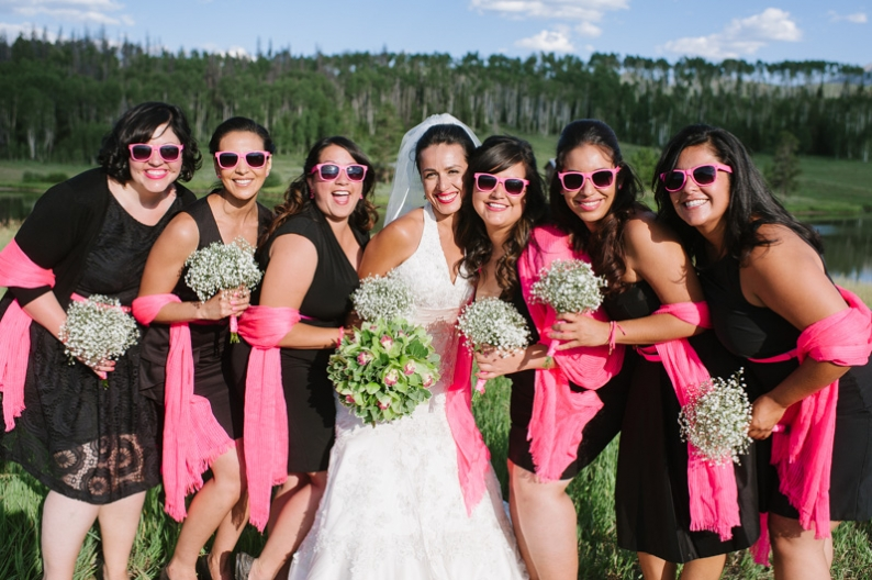 bridal party in hot pink colors