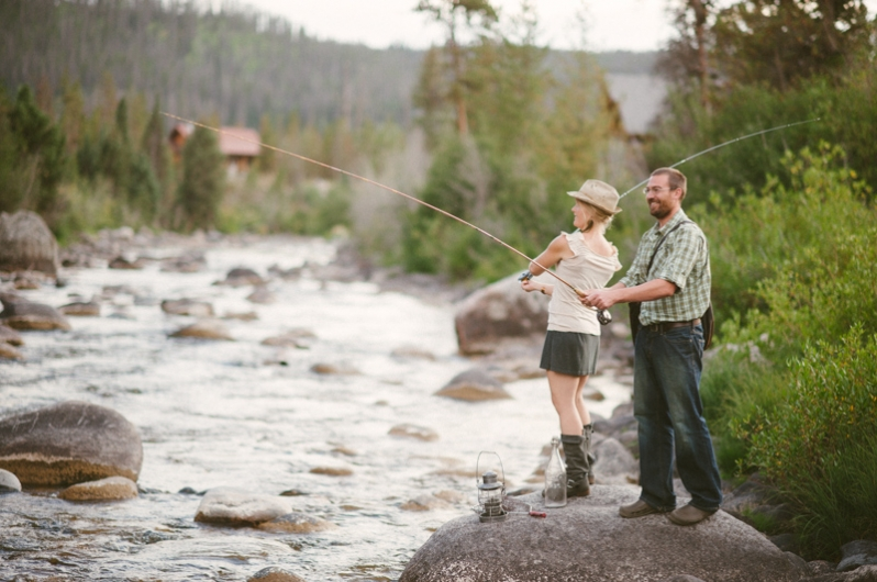 Rustic Colorado fishing engagement