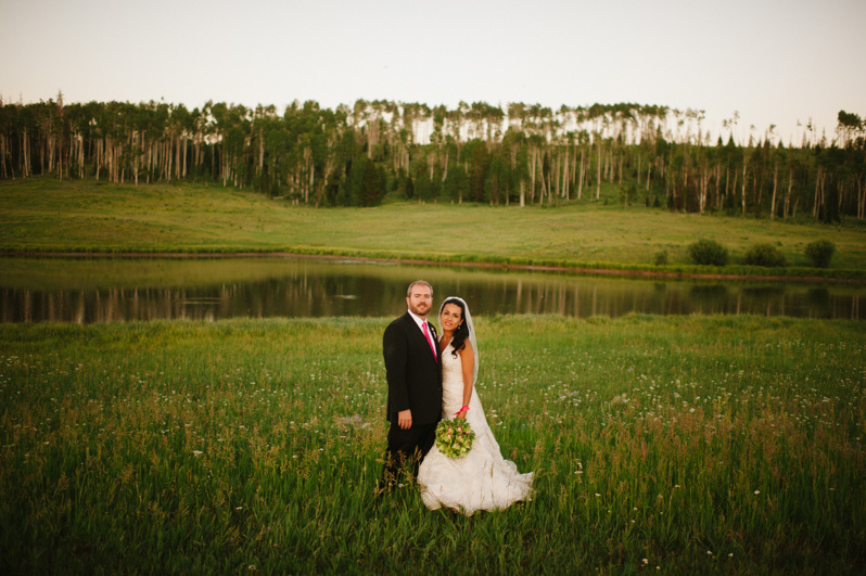 bride and groom at Midnight Ranch wedding near Steamboat Springs, Colorado