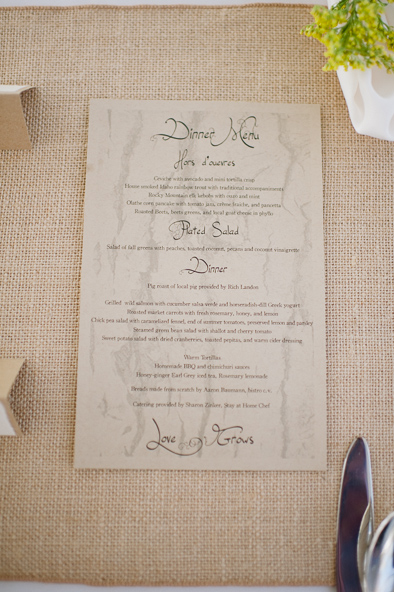 natural and organic dinner menu at wedding