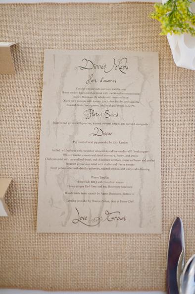 natural and organic dinner menu at wedding