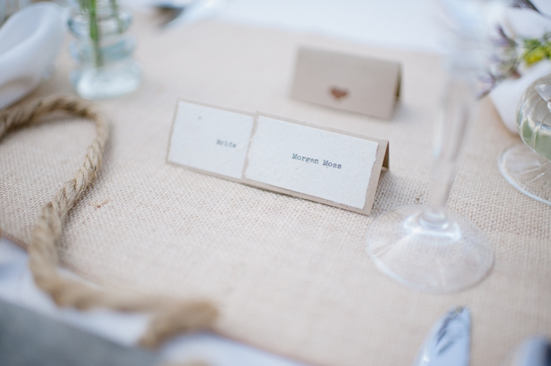 rustic place setting cards at wedding