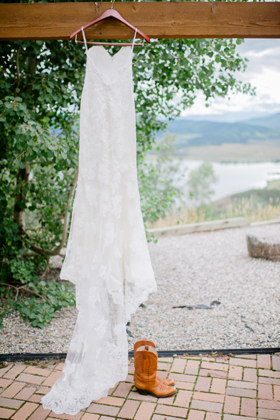 wedding dress hanging at Bella Vista in Steamboat Springs