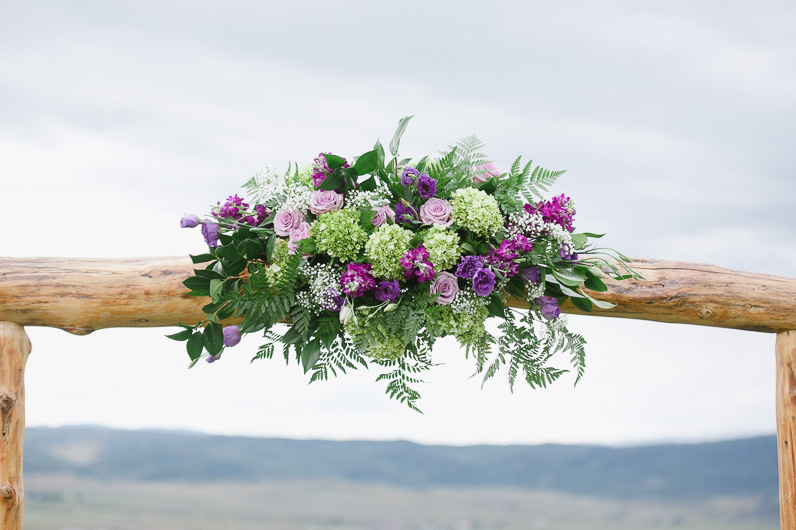 bouquet of flowers at altar
