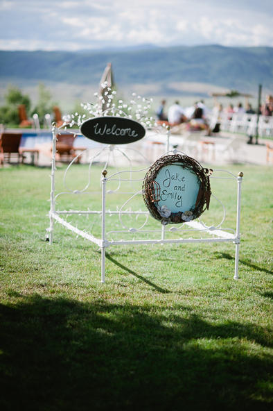 bed frame at wedding