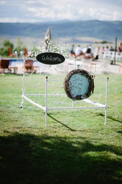 bed frame at wedding
