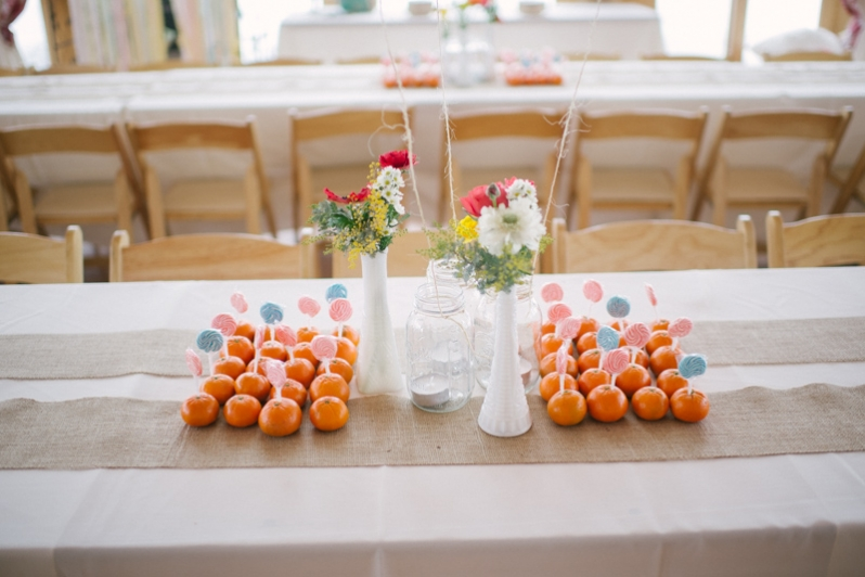 orange decorations at wedding