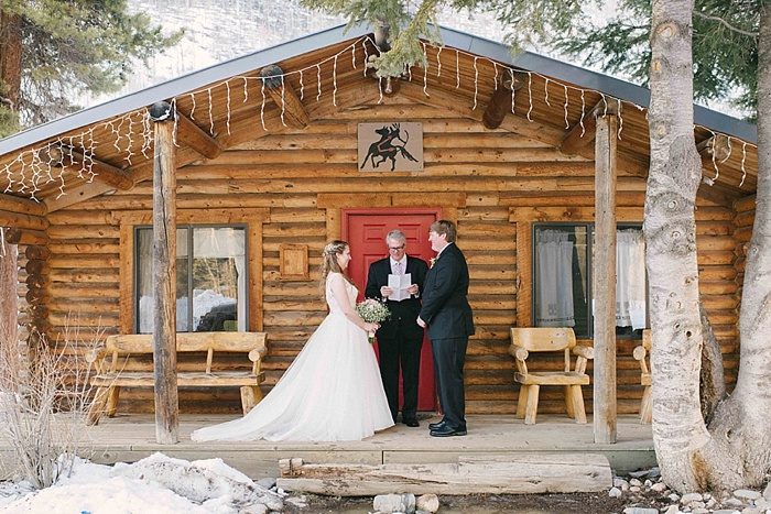 Wedding ceremony at Evergreen cabin at Elk River Guest Ranch